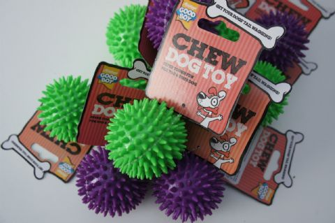 GOOD BOY SPIKEY CHEW BALL DOG TOY X 10